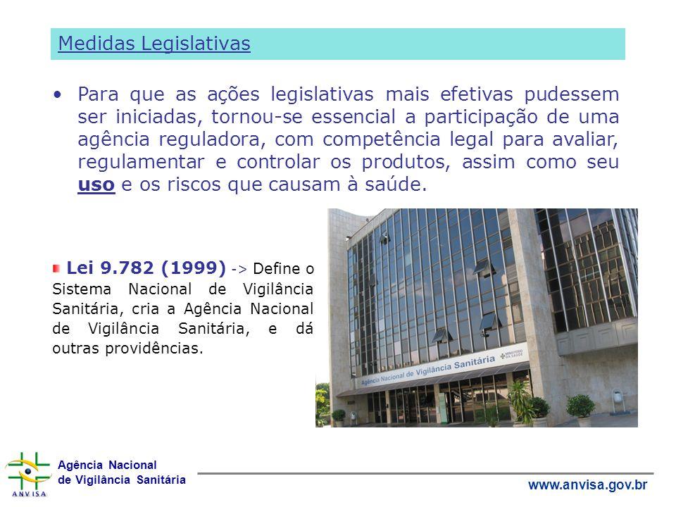 Agência Nacional de Vigilância Sanitária www.anvisa.gov.br Lei 9.782 (1999) -> Define o Sistema Nacional de Vigilância Sanitária, cria a Agência Nacio