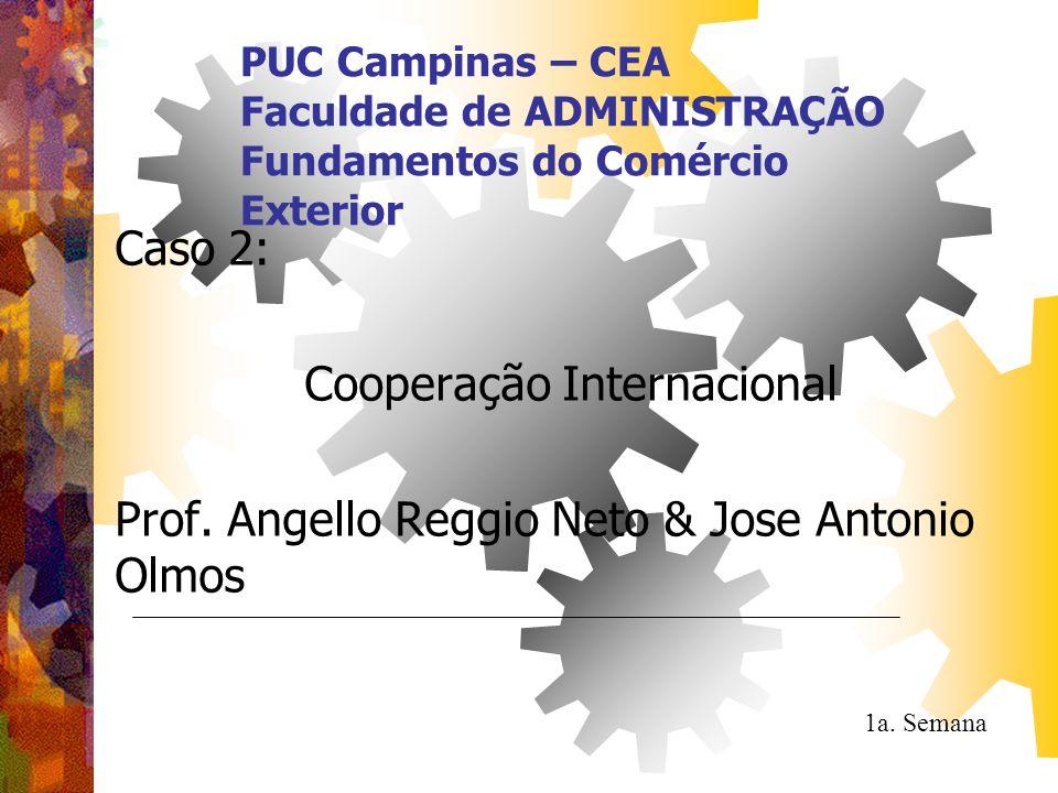 PUC Campinas – CEA Faculdade de ADMINISTRAÇÃO Fundamentos do Comércio Exterior Caso 2: Cooperação Internacional Prof. Angello Reggio Neto & Jose Anton