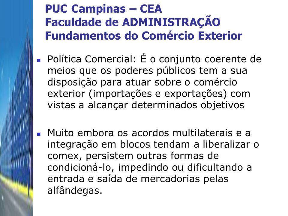 PUC Campinas – CEA Faculdade de ADMINISTRAÇÃO Fundamentos do Comércio Exterior Política Comercial: É o conjunto coerente de meios que os poderes públi