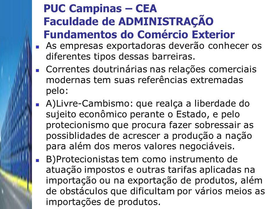 PUC Campinas – CEA Faculdade de ADMINISTRAÇÃO Fundamentos do Comércio Exterior As empresas exportadoras deverão conhecer os diferentes tipos dessas ba