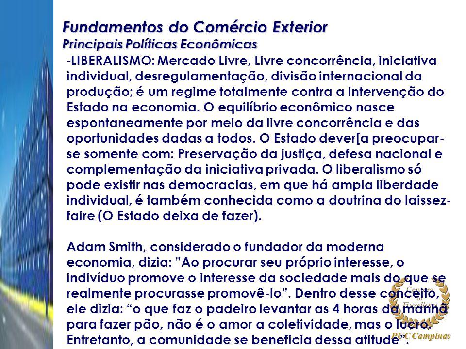 PUC Campinas Fundamentos do Comércio Exterior Principais Políticas Econômicas - LIBERALISMO: Mercado Livre, Livre concorrência, iniciativa individual,