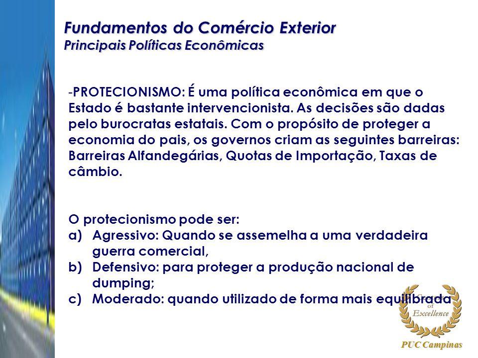 PUC Campinas Fundamentos do Comércio Exterior Principais Políticas Econômicas - PROTECIONISMO: É uma política econômica em que o Estado é bastante int