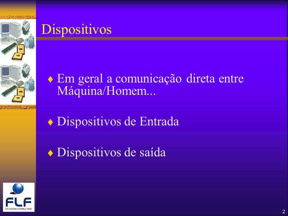 2 Dispositivos Em geral a comunicação direta entre Máquina/Homem...