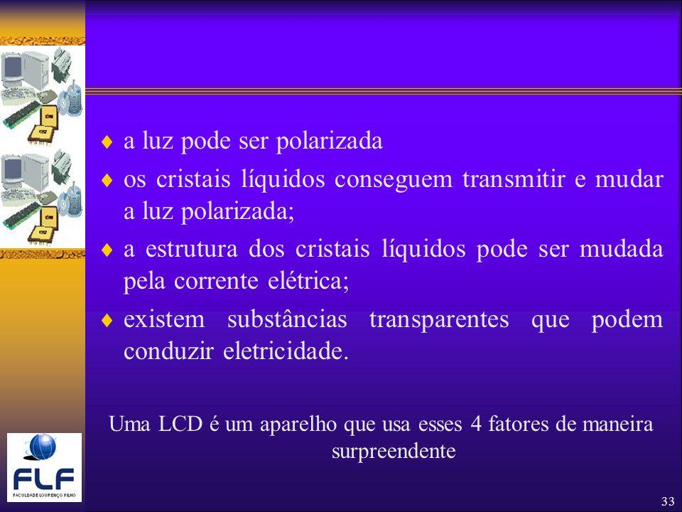 a luz pode ser polarizada os cristais líquidos conseguem transmitir e mudar a luz polarizada; a estrutura dos cristais líquidos pode ser mudada pela corrente elétrica; existem substâncias transparentes que podem conduzir eletricidade.