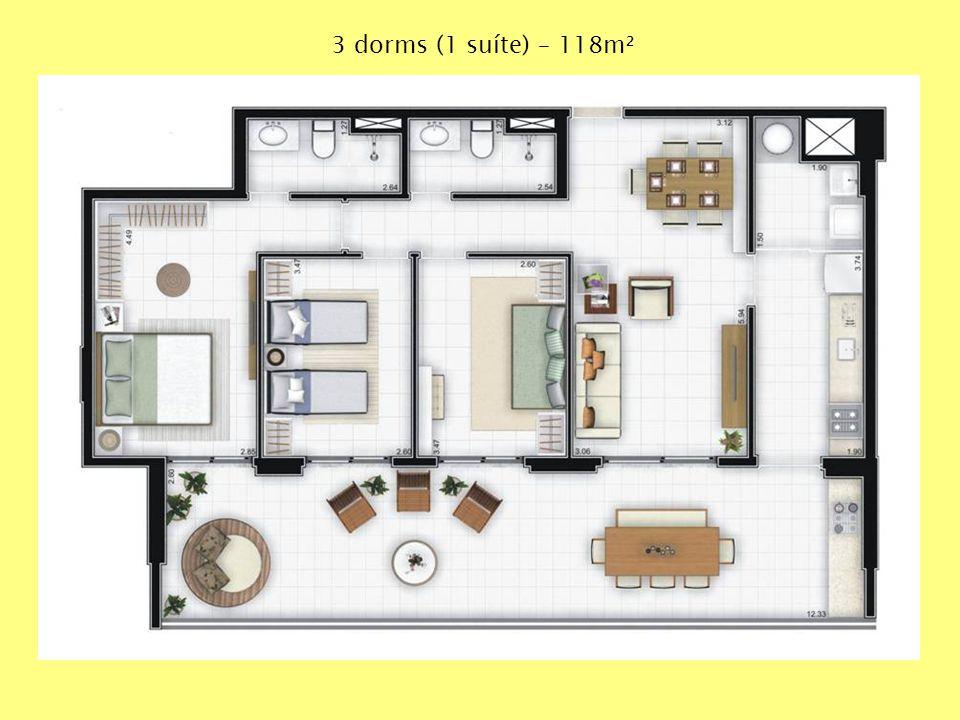 3 dorms (1 suíte) – 118m²