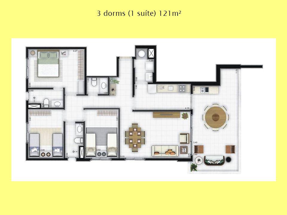 3 dorms (1 suíte) 121m²