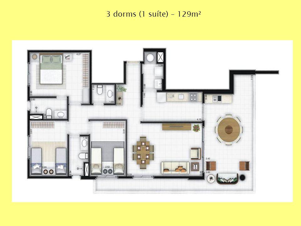 3 dorms (1 suíte) – 129m²