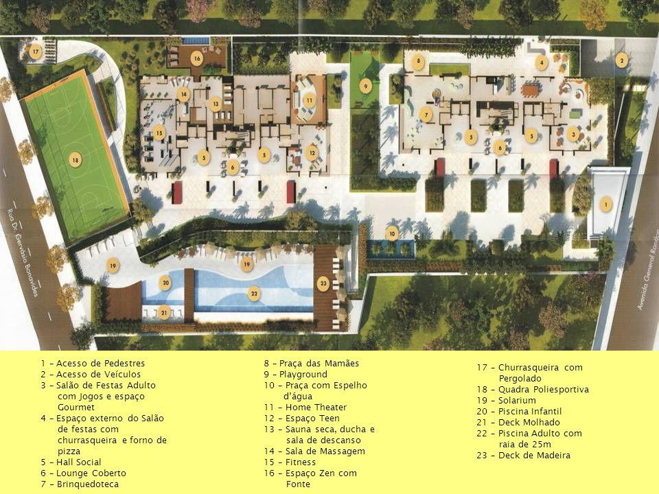 1 – Acesso de Pedestres 2 – Acesso de Veículos 3 – Salão de Festas Adulto com Jogos e espaço Gourmet 4 – Espaço externo do Salão de festas com churras