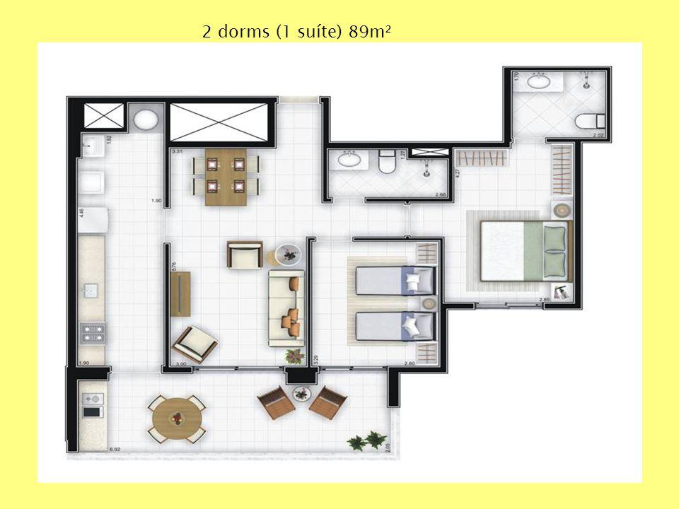 2 dorms (1 suíte) 89m²