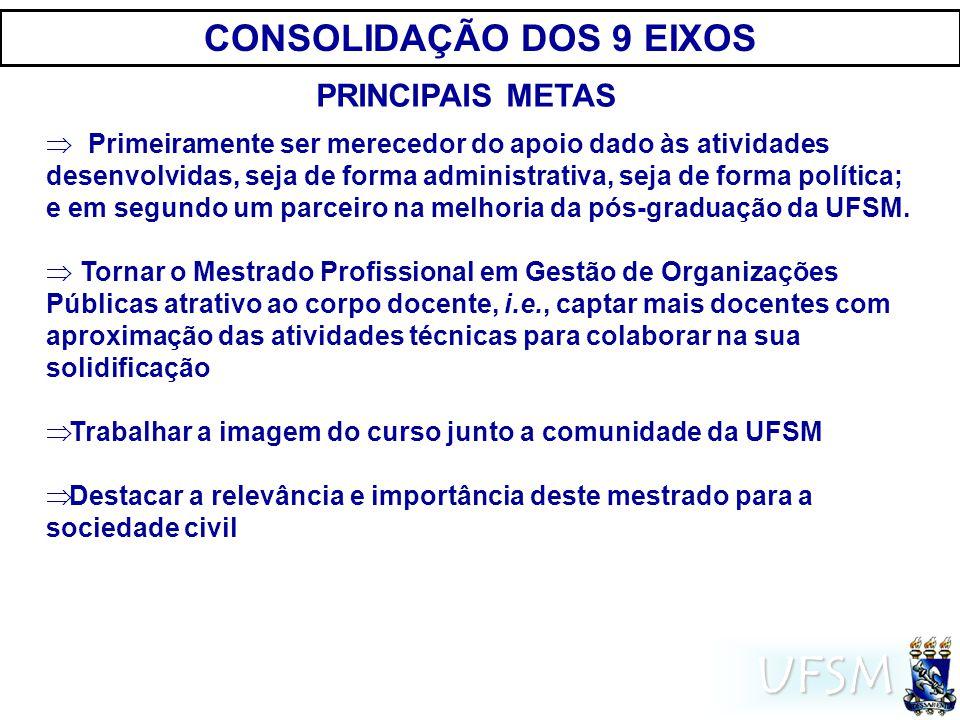 UFSM CONSOLIDAÇÃO DOS 9 EIXOS Primeiramente ser merecedor do apoio dado às atividades desenvolvidas, seja de forma administrativa, seja de forma política; e em segundo um parceiro na melhoria da pós-graduação da UFSM.