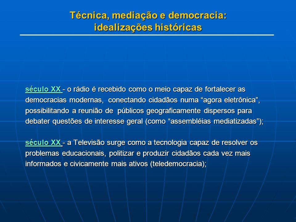 Técnica, mediação e democracia: idealizações históricas século XX - o rádio é recebido como o meio capaz de fortalecer as democracias modernas, conect
