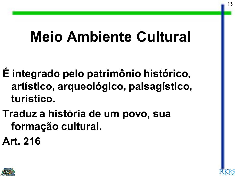 13 Meio Ambiente Cultural É integrado pelo patrimônio histórico, artístico, arqueológico, paisagístico, turístico.