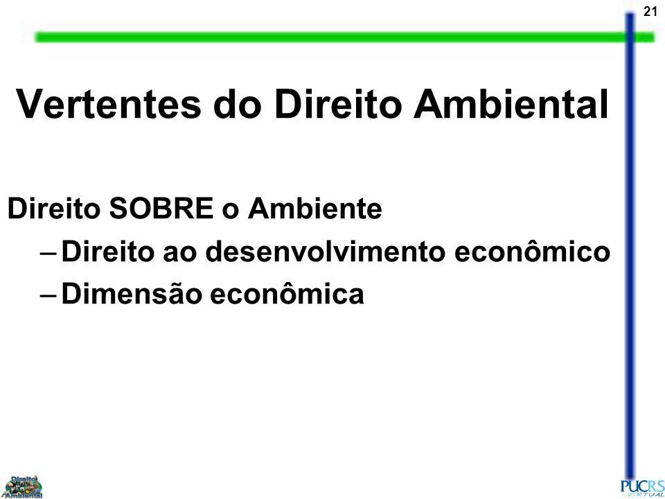 21 Direito SOBRE o Ambiente –Direito ao desenvolvimento econômico –Dimensão econômica Vertentes do Direito Ambiental