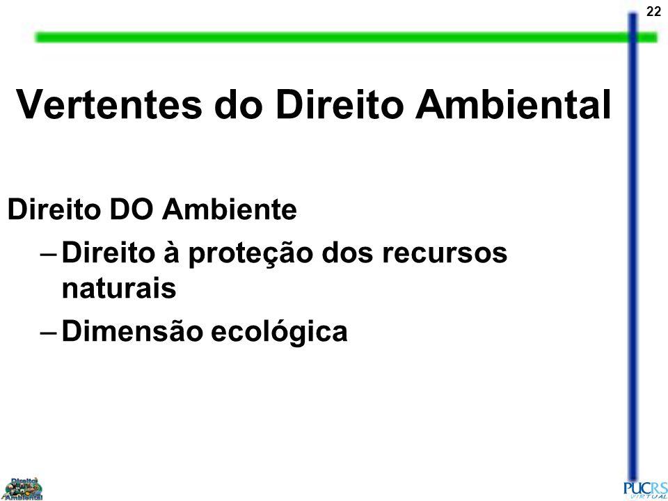 22 Direito DO Ambiente –Direito à proteção dos recursos naturais –Dimensão ecológica Vertentes do Direito Ambiental