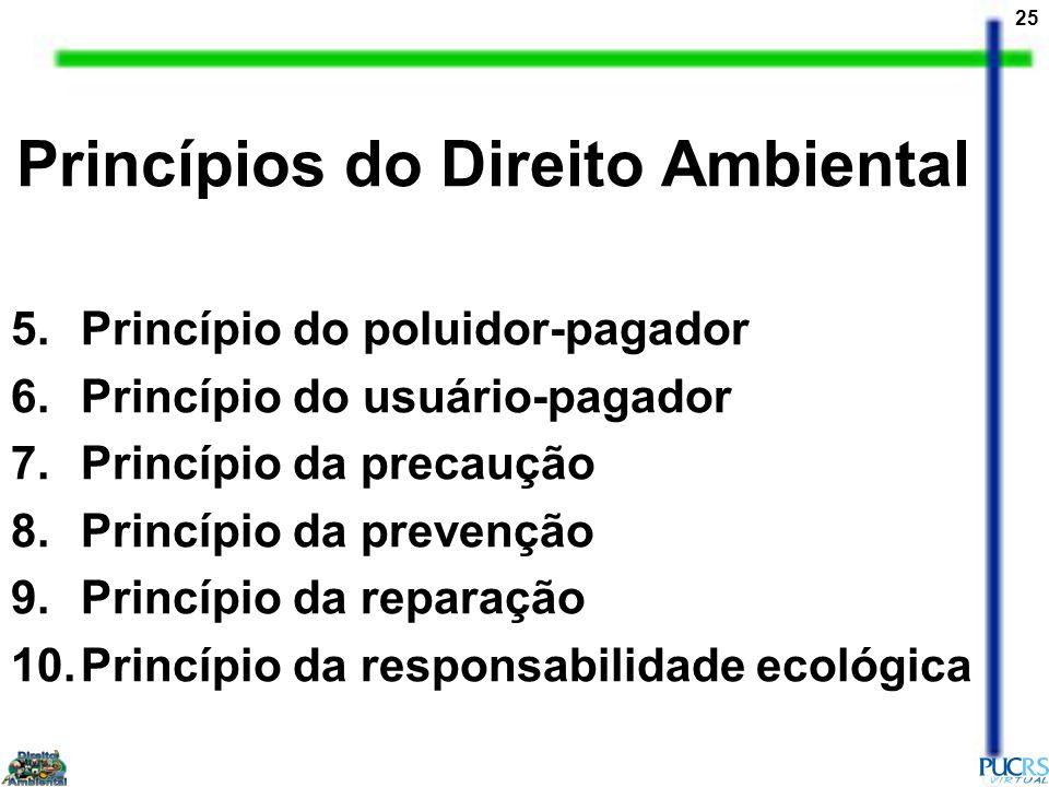 25 Princípios do Direito Ambiental 5.Princípio do poluidor-pagador 6.Princípio do usuário-pagador 7.Princípio da precaução 8.Princípio da prevenção 9.Princípio da reparação 10.Princípio da responsabilidade ecológica