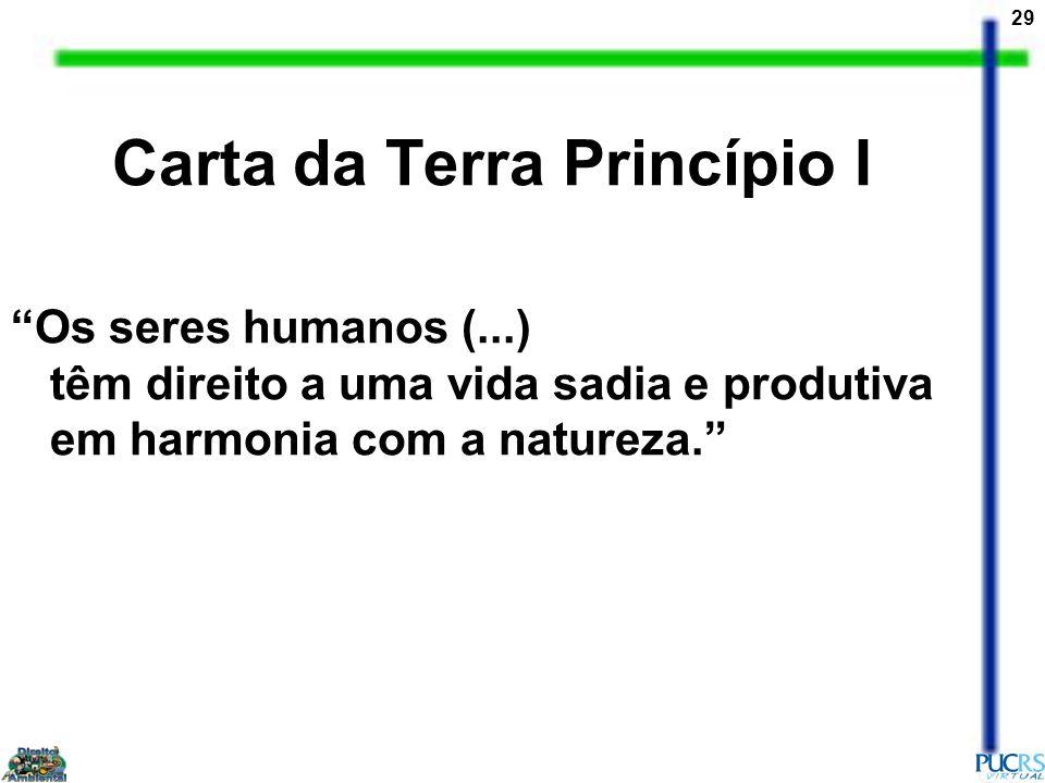 29 Carta da Terra Princípio I Os seres humanos (...) têm direito a uma vida sadia e produtiva em harmonia com a natureza.