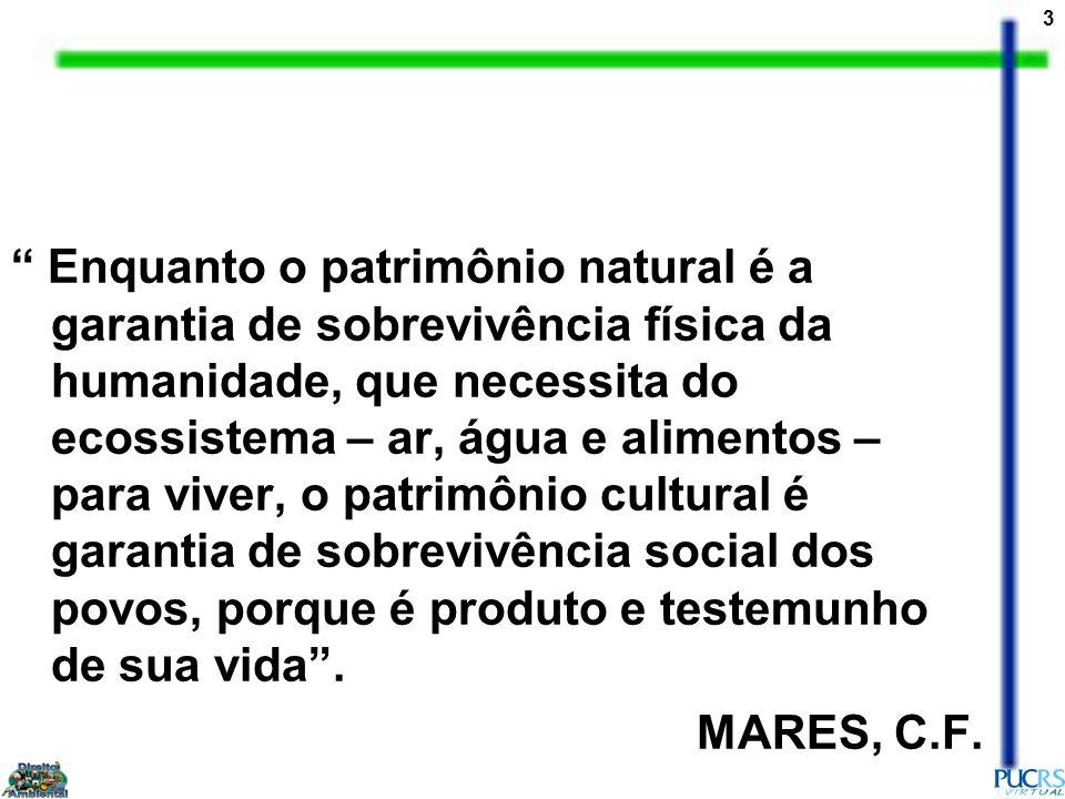 3 Enquanto o patrimônio natural é a garantia de sobrevivência física da humanidade, que necessita do ecossistema – ar, água e alimentos – para viver, o patrimônio cultural é garantia de sobrevivência social dos povos, porque é produto e testemunho de sua vida.