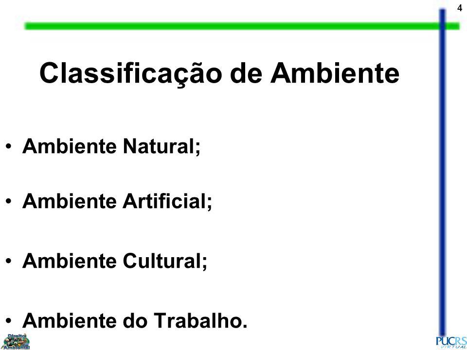 4 Classificação de Ambiente Ambiente Natural; Ambiente Artificial; Ambiente Cultural; Ambiente do Trabalho.