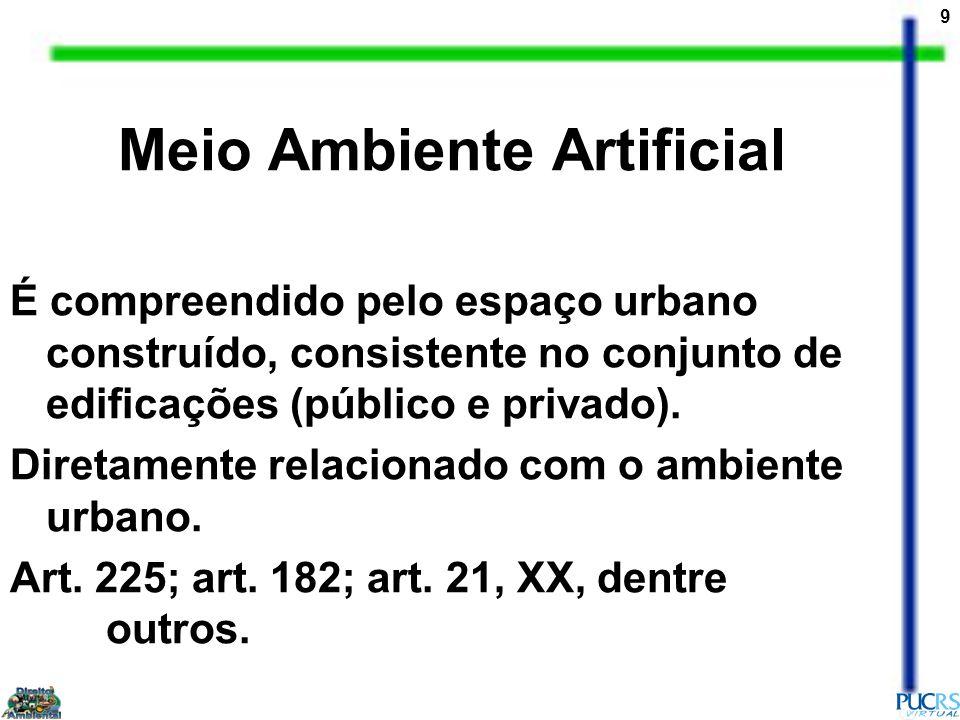 9 Meio Ambiente Artificial É compreendido pelo espaço urbano construído, consistente no conjunto de edificações (público e privado).