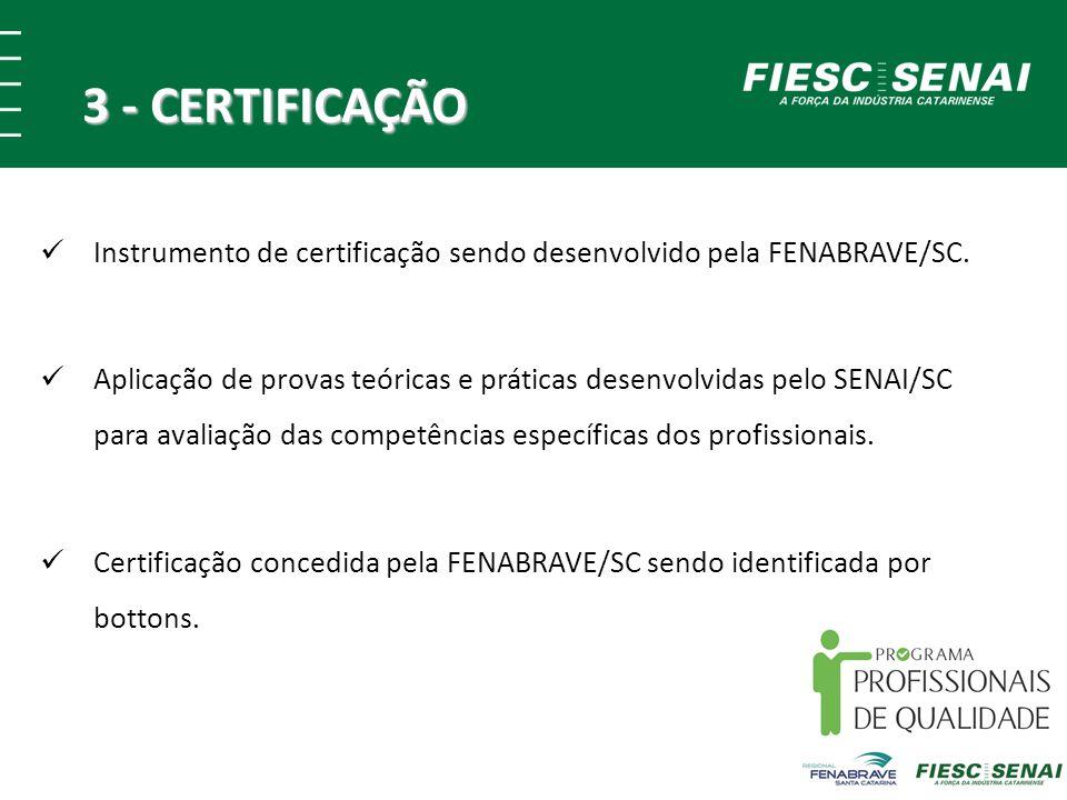 3 - CERTIFICAÇÃO Instrumento de certificação sendo desenvolvido pela FENABRAVE/SC. Aplicação de provas teóricas e práticas desenvolvidas pelo SENAI/SC