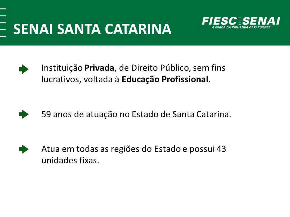 Instituição Privada, de Direito Público, sem fins lucrativos, voltada à Educação Profissional. 59 anos de atuação no Estado de Santa Catarina. Atua em