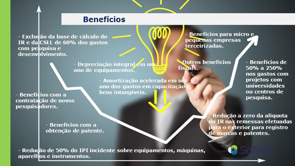 Benefícios - Exclusão da base de cálculo do IR e da CSLL de 60% dos gastos com pesquisa e desenvolvimento. - Benefícios com a contratação de novos pes