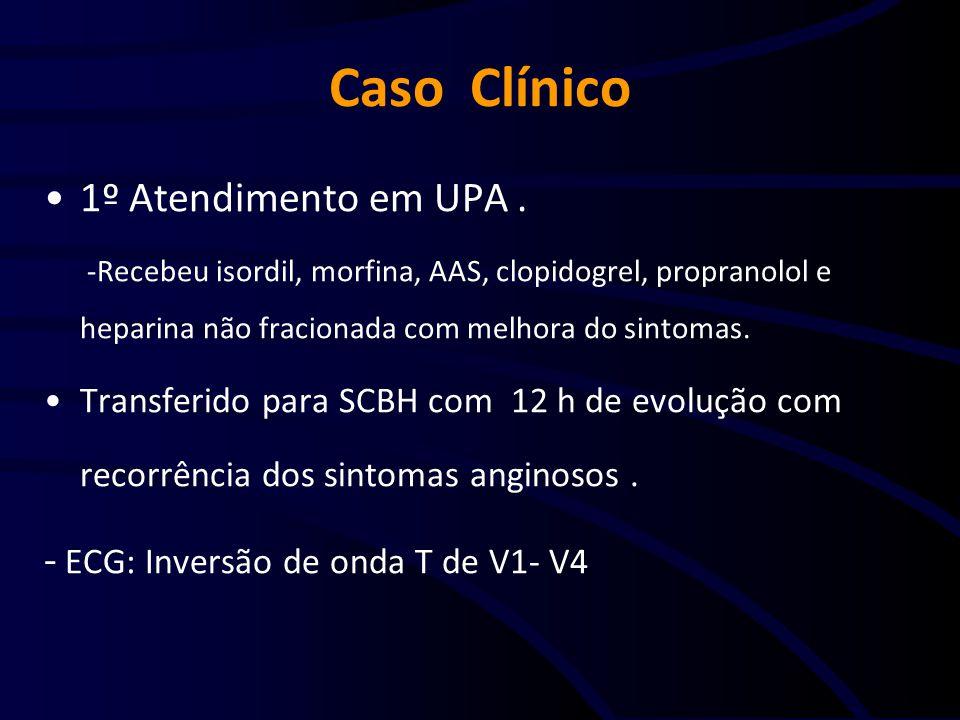 Caso Clínico 1º Atendimento em UPA. -Recebeu isordil, morfina, AAS, clopidogrel, propranolol e heparina não fracionada com melhora do sintomas. Transf