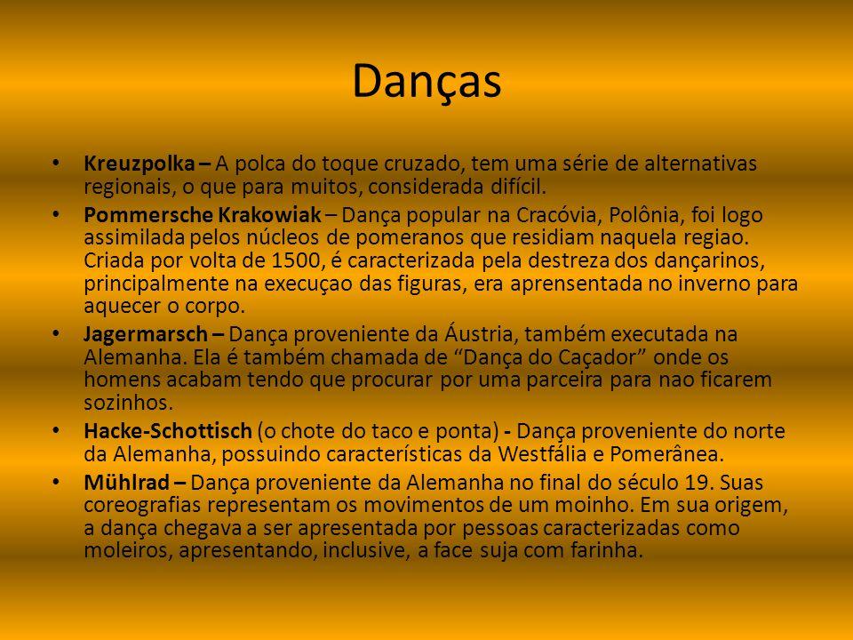 Danças Kreuzpolka – A polca do toque cruzado, tem uma série de alternativas regionais, o que para muitos, considerada difícil. Pommersche Krakowiak –