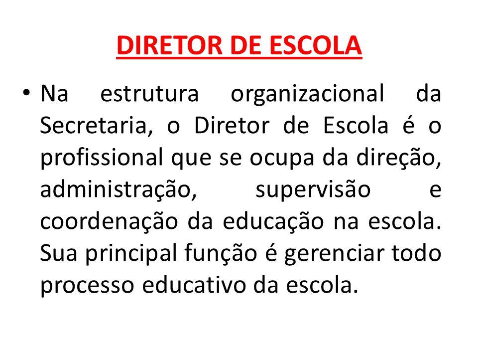 DIRETOR DE ESCOLA Na estrutura organizacional da Secretaria, o Diretor de Escola é o profissional que se ocupa da direção, administração, supervisão e coordenação da educação na escola.