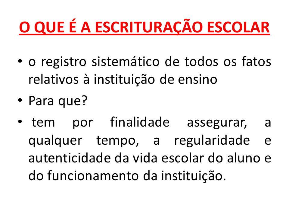 O QUE É A ESCRITURAÇÃO ESCOLAR o registro sistemático de todos os fatos relativos à instituição de ensino Para que.