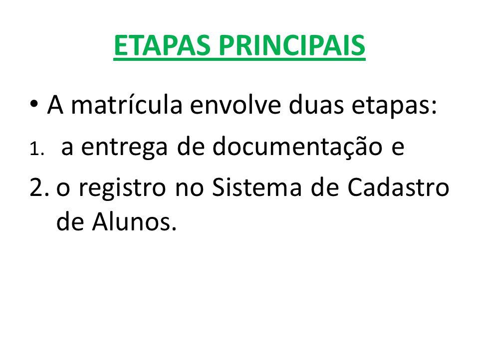 ETAPAS PRINCIPAIS A matrícula envolve duas etapas: 1.