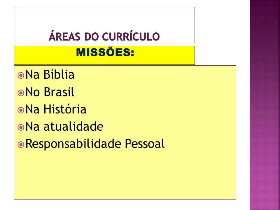 MISSÕES: Na Bíblia No Brasil Na História Na atualidade Responsabilidade Pessoal
