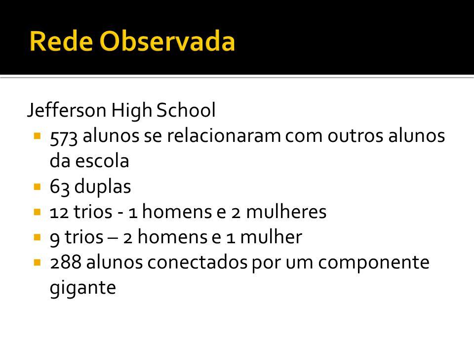 Jefferson High School 573 alunos se relacionaram com outros alunos da escola 63 duplas 12 trios - 1 homens e 2 mulheres 9 trios – 2 homens e 1 mulher