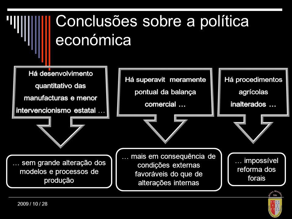 Conclusões sobre a política económica … sem grande alteração dos modelos e processos de produção … mais em consequência de condições externas favoráveis do que de alterações internas … impossível reforma dos forais 2009 / 10 / 28