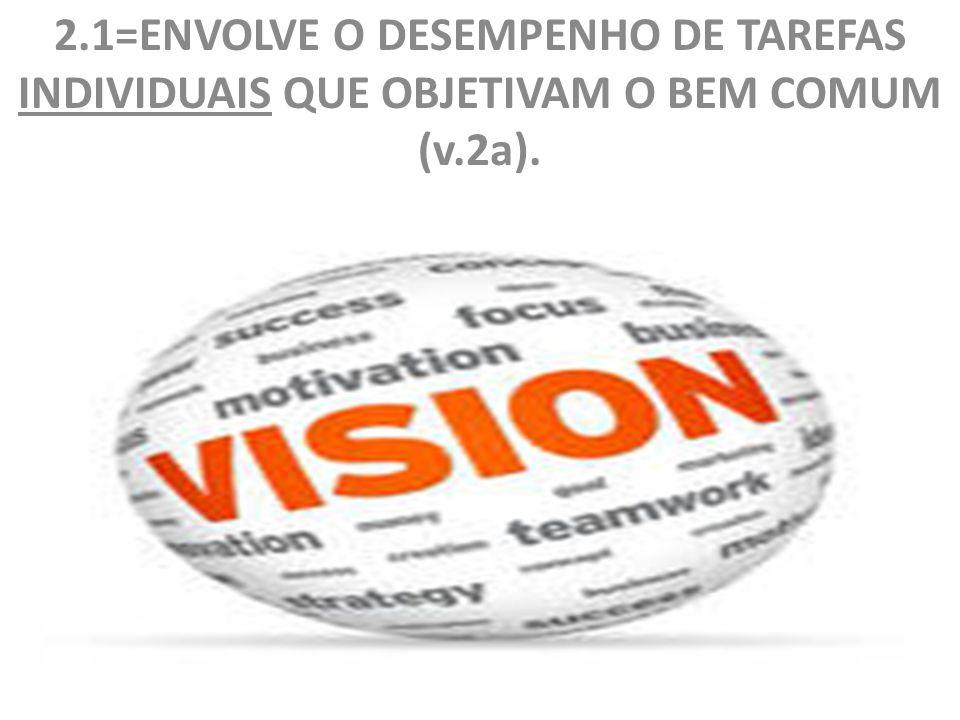 2.1=ENVOLVE O DESEMPENHO DE TAREFAS INDIVIDUAIS QUE OBJETIVAM O BEM COMUM (v.2a).