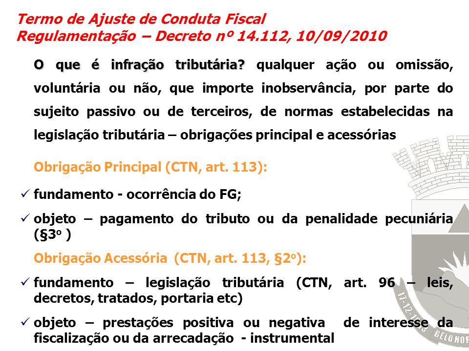 Termo de Ajuste de Conduta Fiscal Regulamentação – Decreto nº 14.112, 10/09/2010 O que é infração tributária? O que é infração tributária? qualquer aç