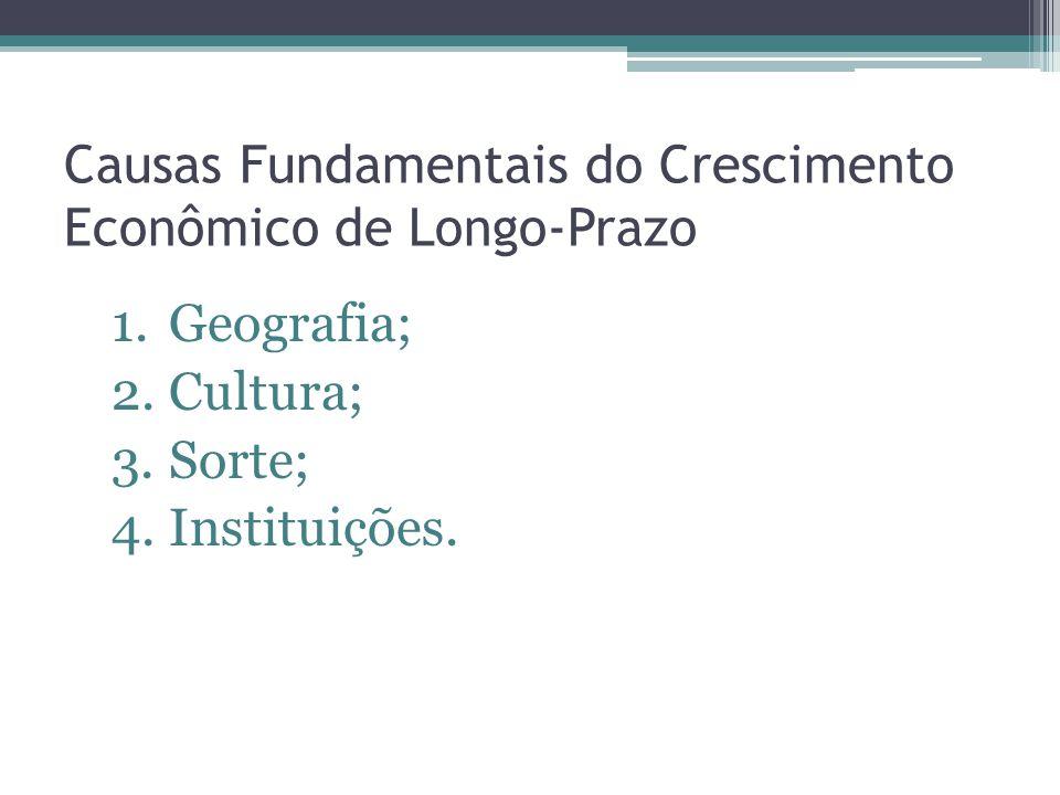 Causas Fundamentais do Crescimento Econômico de Longo-Prazo 1.Geografia; 2.Cultura; 3.Sorte; 4.Instituições.