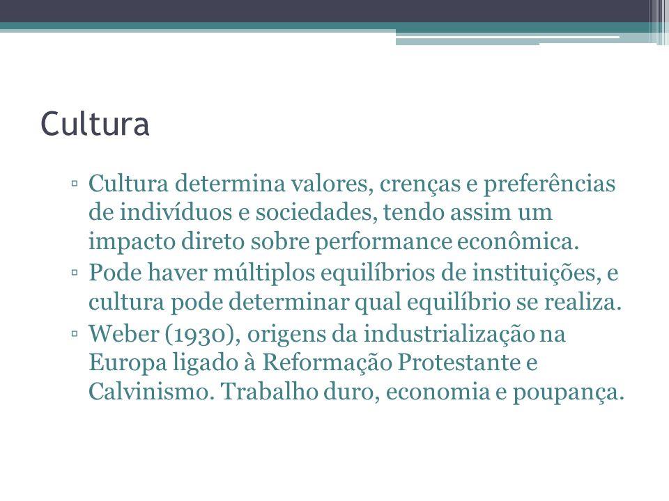 Cultura Cultura determina valores, crenças e preferências de indivíduos e sociedades, tendo assim um impacto direto sobre performance econômica. Pode
