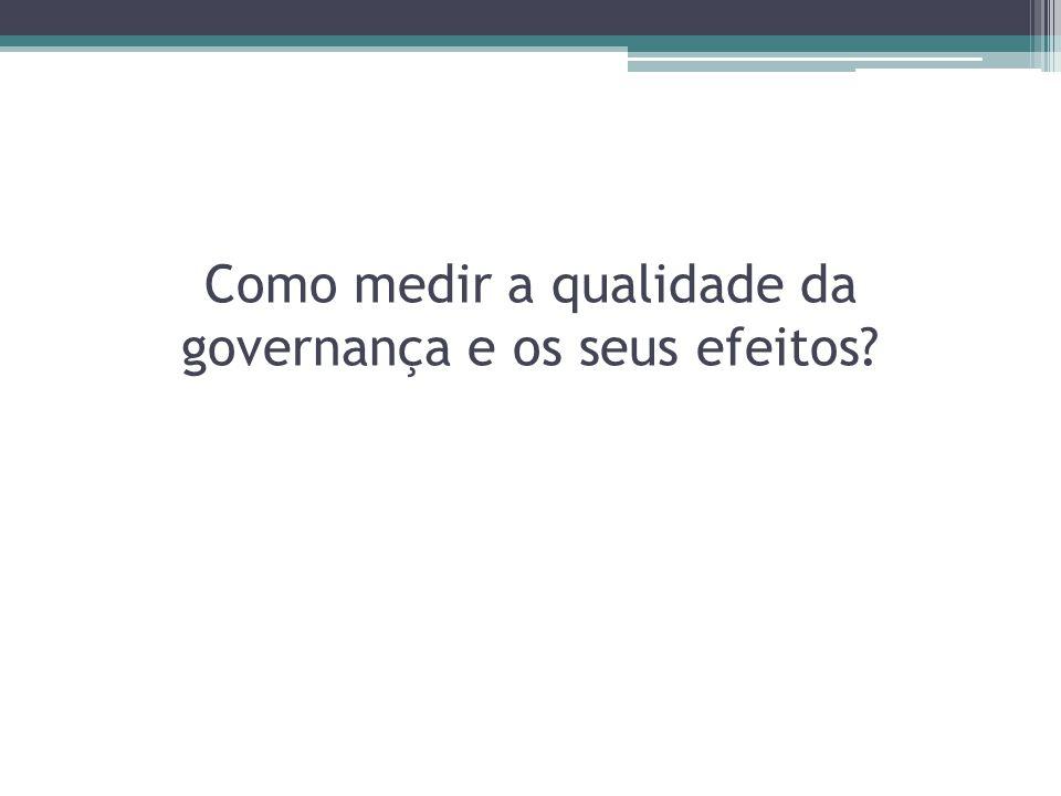 Como medir a qualidade da governança e os seus efeitos?
