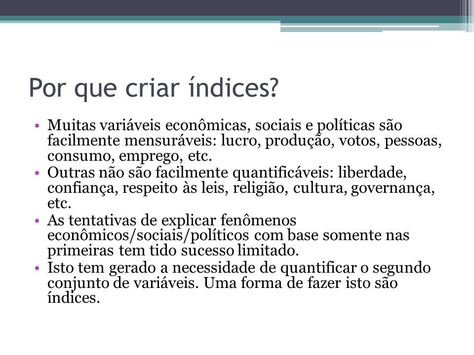 Por que criar índices? Muitas variáveis econômicas, sociais e políticas são facilmente mensuráveis: lucro, produção, votos, pessoas, consumo, emprego,