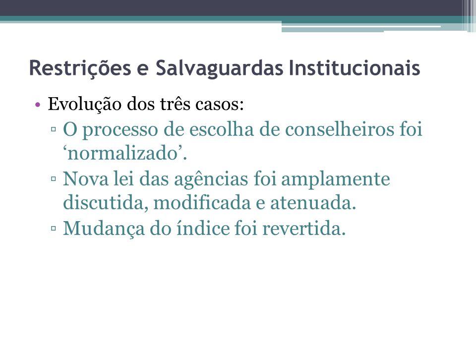 Restrições e Salvaguardas Institucionais Evolução dos três casos: O processo de escolha de conselheiros foi normalizado. Nova lei das agências foi amp