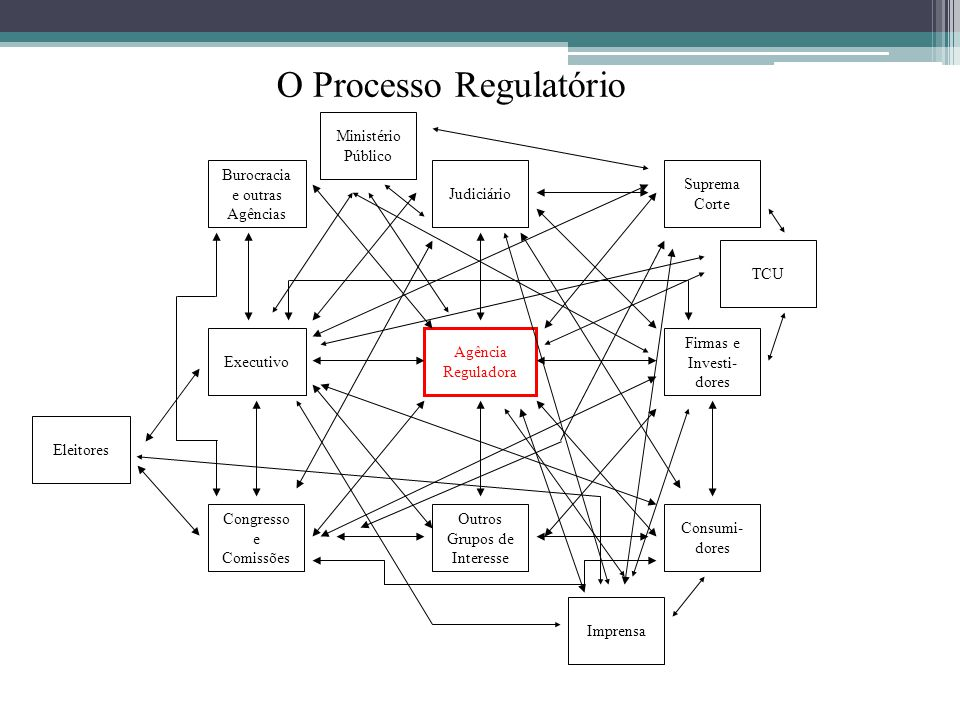 Agência Reguladora Suprema Corte Executivo Judiciário Burocracia e outras Agências Firmas e Investi- dores Consumi- dores Outros Grupos de Interesse C