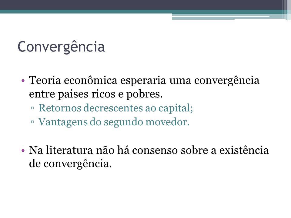 Convergência Teoria econômica esperaria uma convergência entre paises ricos e pobres. Retornos decrescentes ao capital; Vantagens do segundo movedor.
