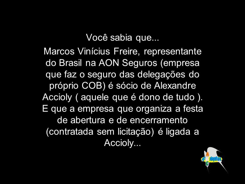 Você sabia que... Marcos Vinícius Freire, representante do Brasil na AON Seguros (empresa que faz o seguro das delegações do próprio COB) é sócio de A