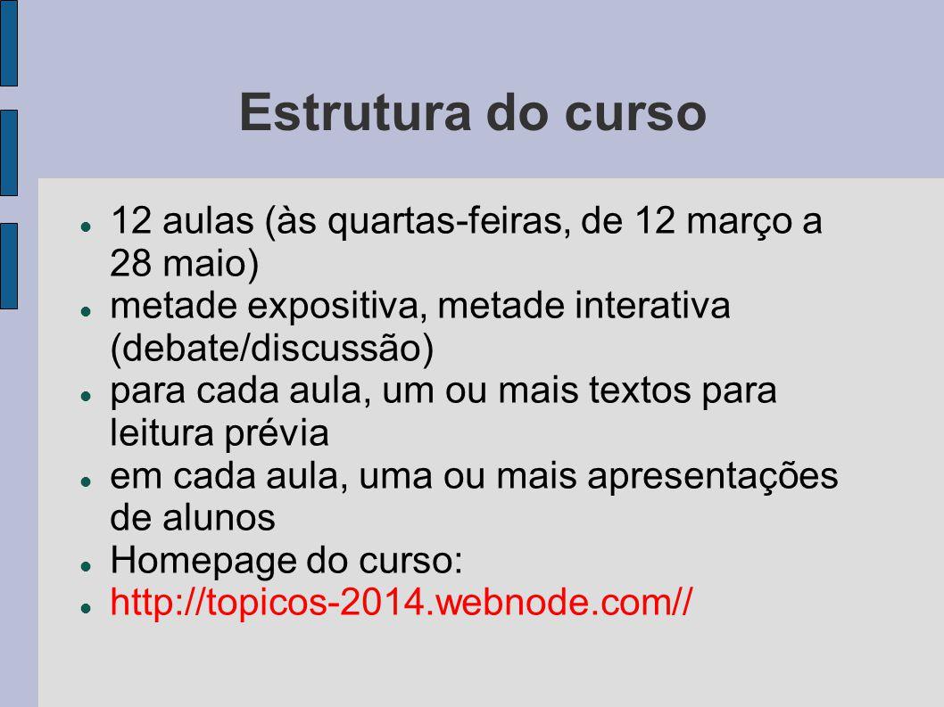 Estrutura do curso 12 aulas (às quartas-feiras, de 12 março a 28 maio) metade expositiva, metade interativa (debate/discussão) para cada aula, um ou m