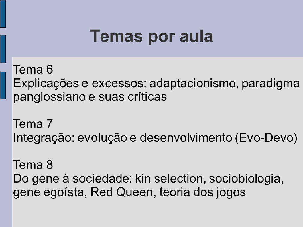 Temas por aula Tema 6 Explicações e excessos: adaptacionismo, paradigma panglossiano e suas críticas Tema 7 Integração: evolução e desenvolvimento (Ev