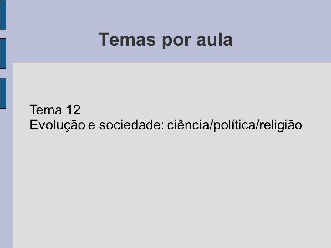 Temas por aula Tema 12 Evolução e sociedade: ciência/política/religião