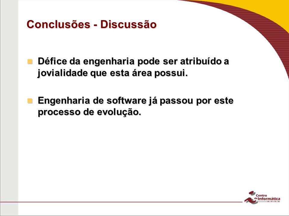 Conclusões - Discussão Défice da engenharia pode ser atribuído a jovialidade que esta área possui.
