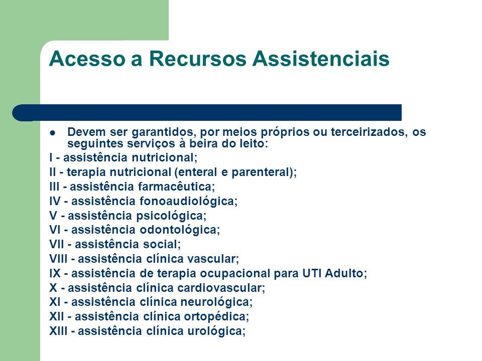 Acesso a Recursos Assistenciais Devem ser garantidos, por meios próprios ou terceirizados, os seguintes serviços à beira do leito: I - assistência nut