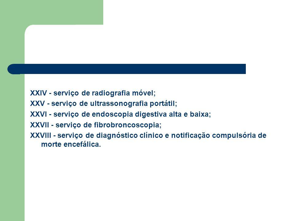 XXIV - serviço de radiografia móvel; XXV - serviço de ultrassonografia portátil; XXVI - serviço de endoscopia digestiva alta e baixa; XXVII - serviço